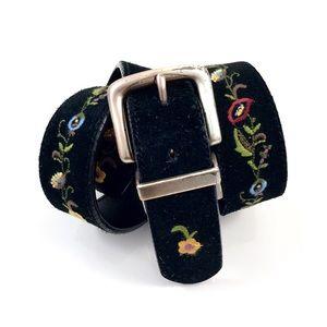VTG reversible suede floral embroidered belt